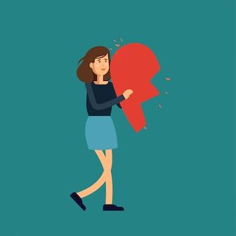 Иллюстрация любви. молодая женщина держит половинки сердца. концепция иллюстрации.