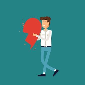 Иллюстрация любви. молодой человек держит половинки сердца. концепция иллюстрации. счастливая валентинка