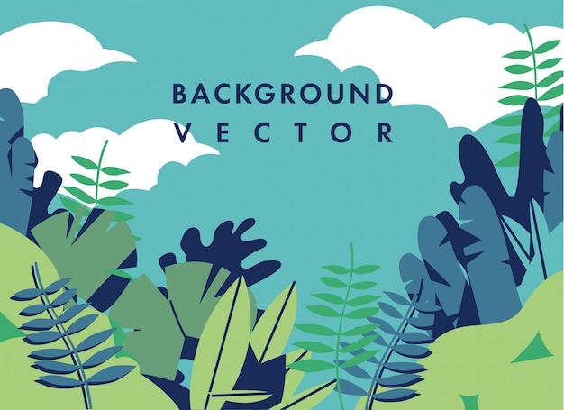 Иллюстрация ландшафта с красочными цветами - предпосылка с текстом шаблона. может использоваться для плакатов, плакатов, брошюр, баннеров, веб-страниц, заголовков, обложек.