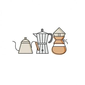 カラフルなテンプレートのロゴとエンブレムを設定-コーヒーショップ、カフェ。食品アイコン。白い背景の上のトレンディな直線的なスタイルのラベル。