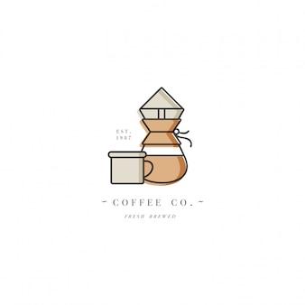 カラフルなテンプレートのロゴやエンブレム-コーヒーショップやカフェ。食品アイコン。白い背景の上のトレンディな直線的なスタイルのラベル。