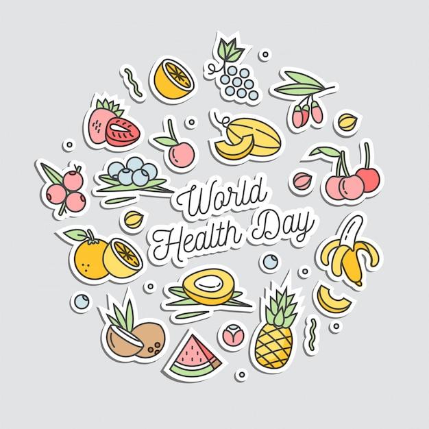世界保健デーのレタリングの線形スタイルのイラストと果物食品に囲まれています。健康的な栄養とアクティブなライフスタイル。