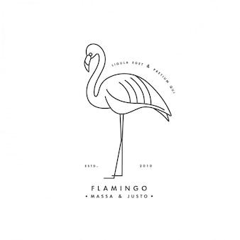 白い背景の上の線形ロゴデザインフラミンゴ鳥。フラミンゴのエンブレムやバッジ。