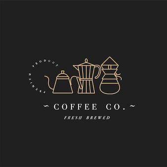 カラフルなテンプレートのロゴやエンブレムをデザイン-コーヒーショップ、カフェ。食品アイコン。白い背景に分離されたトレンディな直線的なスタイルのゴールデンラベル。