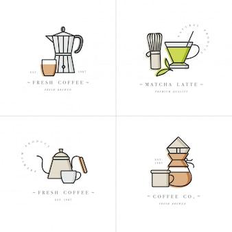 デザインのカラフルなテンプレートのロゴとエンブレム-コーヒーショップとカフェを設定します。食品アイコン。白い背景に分離されたトレンディな直線的なスタイルのラベル。