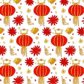 中国の旧正月の伝統的な要素を持つカラフルなパターン。明るい中国の新年の背景。