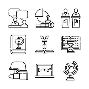 Набор иконок линии школы и образования.