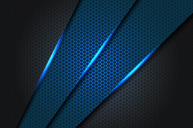 Абстрактный голубой треугольник слеша металлический на темноте - сером цвете с иллюстрацией текстуры предпосылки дизайна картины сетки шестиугольника современной футуристической.