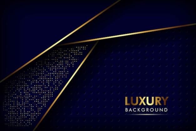 抽象的なネイビーブルーオーバーラップレイヤーゴールデンラインメッシュパターンと金色のキラキラドット豪華な背景