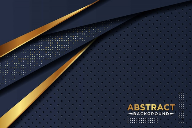 ゴールデンとホワイトのグリッタードットサークルパターンコンビネーションモダンラグジュアリーを備えたダークネイビーブルーのオーバーラップバックラウンド