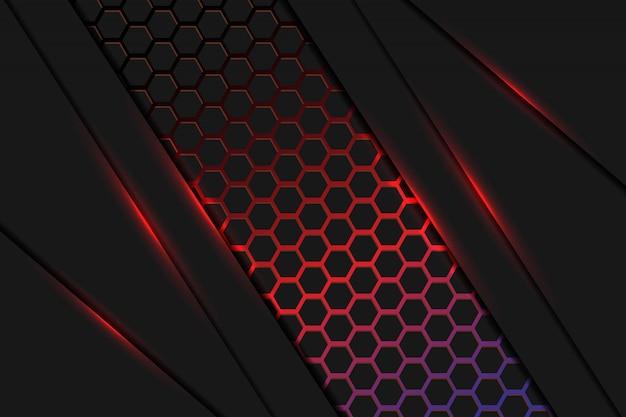 六角形のメッシュパターンの背景を持つ抽象的な暗い赤と青の光の重なり合うレイヤー
