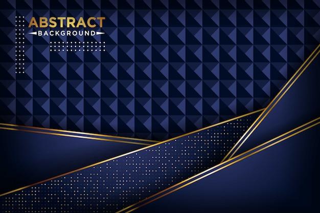 抽象的なネイビーブルーの重複レイヤーゴールデンライン長方形と金色のキラキラドット豪華な背景