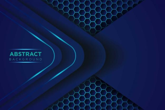 六角形のメッシュパターンモダンな未来的な背景を持つ抽象的な暗い青色の光の重複レイヤー