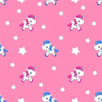 ピンクの背景の小さなユニコーンのパターン。