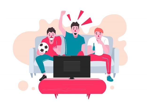 Болельщики смотрят прямую трансляцию матча по телевизору и болеют за свою команду. иллюстрация в