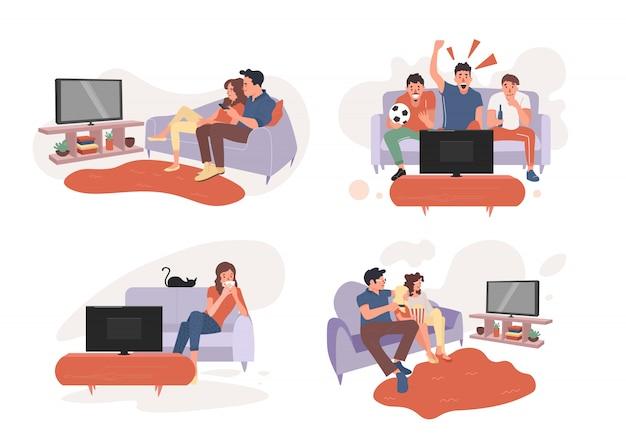若いカップルが一緒にテレビを見る。テレビで試合の生放送を見るファン。親夫婦とテレビを見る少女。若い女性がテレビを見る。図