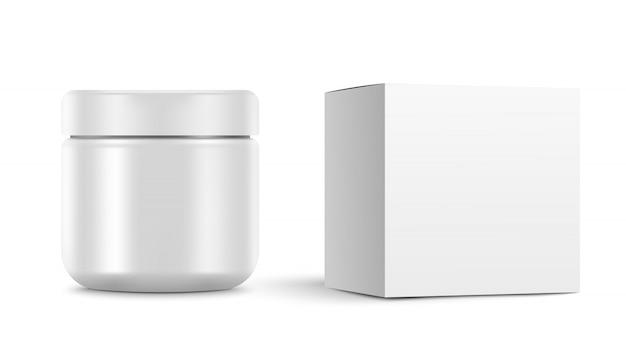 Чистый косметический контейнер для крема. и белая коробка. иллюстрация на белом фоне