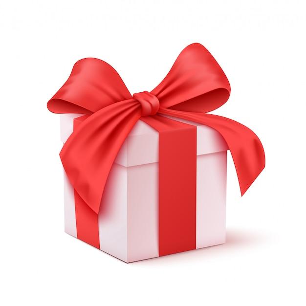 クリスマスと新年の日、赤いギフトボックスホワイトバックグラウンドイラスト