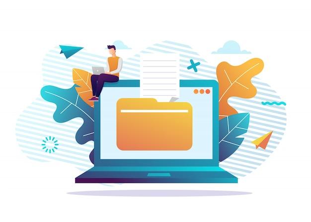 ノートパソコンとダウンロードファイルのアイコン。ドキュメントのダウンロード。小さな人々とトレンディなフラットデザイングラフィック。