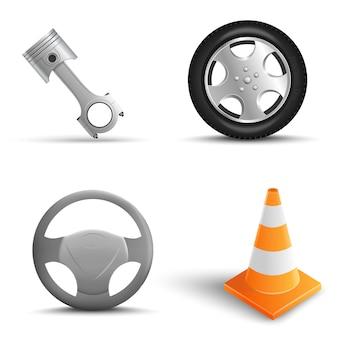 車の修理要素の現実的なセット。トラフィックコーン、タイヤ、ステアリングホイール、エンジンピストン。ベクトル図