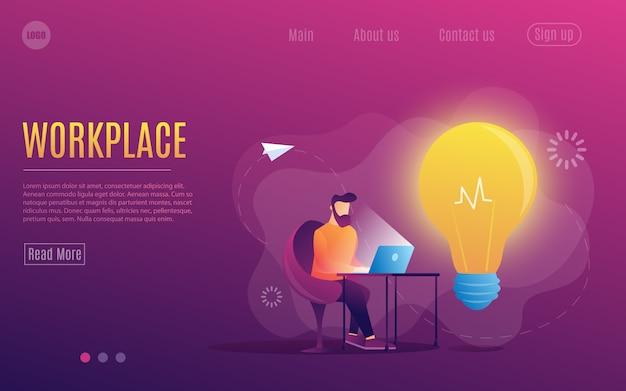 Человек на работе. работаю за ноутбуком. квартира красочный стиль. рабочее место. шаблон веб-страницы.