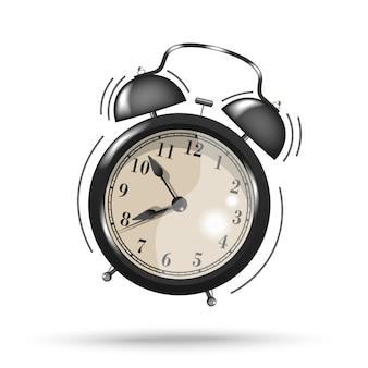 白い背景に分離された黒の鳴る目覚まし時計アイコン。起床時間