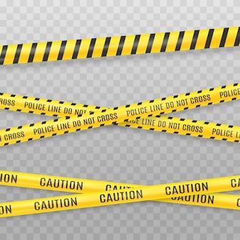 透明な背景に分離された黄色の警察テープ。犯罪シーンテープベクトル図