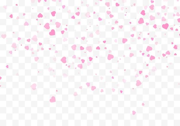 落ちてくるハートの紙吹雪が分離されました。バレンタインデーのコンセプト。ハート形のオーバーレイの背景