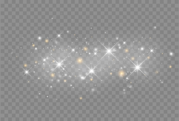Светящийся эффект света с изолированными частицами блеска