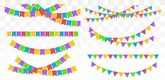 誕生日パーティーの招待状バナー。旗の花輪のセット。ベクトル図