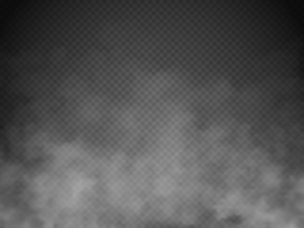 霧または煙が分離されました。透明な特殊効果。白いベクトル曇り、ミストまたはスモッグ
