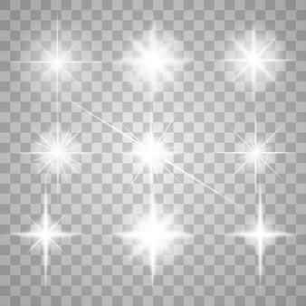 分離された火花。輝く星をベクトルします。レンズフレアと輝き