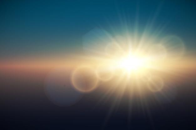 日光専用レンズフレアライト効果。ベクトル図