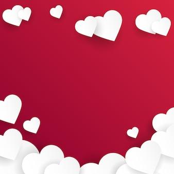 カット紙の心とバレンタインデーの背景