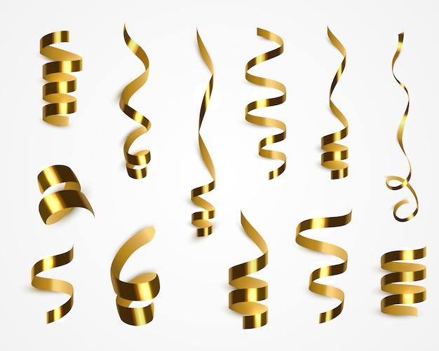 Золото конфетти растяжки изолированы. векторные украшения