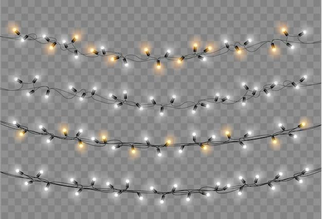 クリスマスライトセット。ベクトル新年は、白熱電球でガーランドを飾ります。