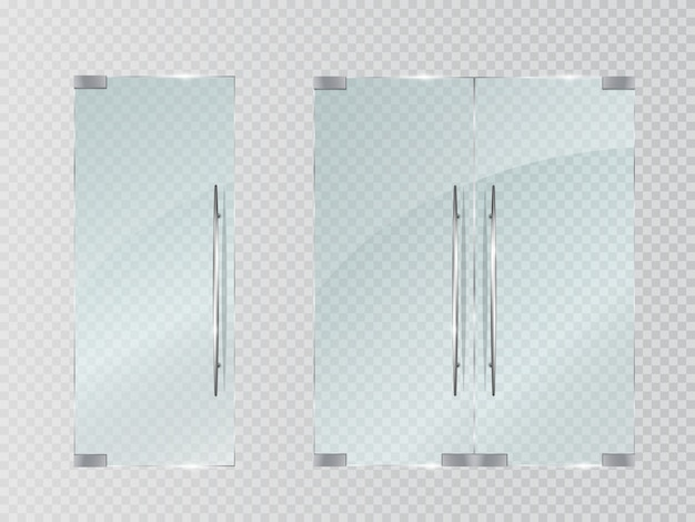 透明に分離されたガラスのドア。
