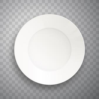 透明に分離されたプレート。リアルな料理のプレート。
