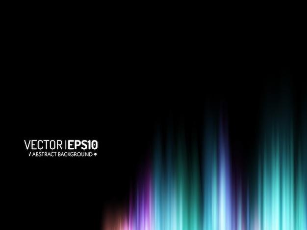 グローカラフルな音波またはオーロラと抽象的な光沢のある背景