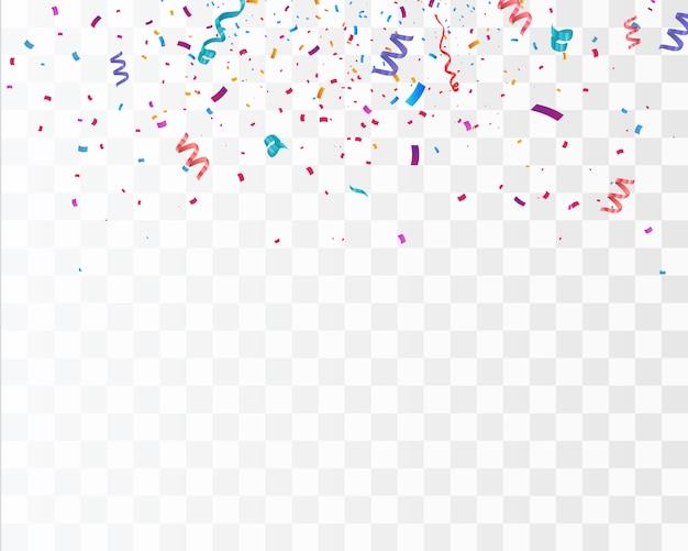 白い背景で隔離の色紙吹雪。祝う