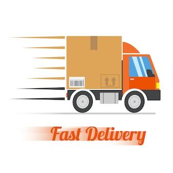 高速配信のコンセプト。大きな段ボールのパッケージを運ぶトラック。