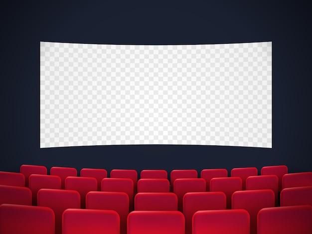 Кинотеатр премьера плаката дизайн с белым экраном