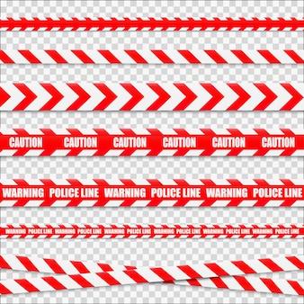 Осторожно линии изолированы. предупреждающие ленты. знаки опасности.