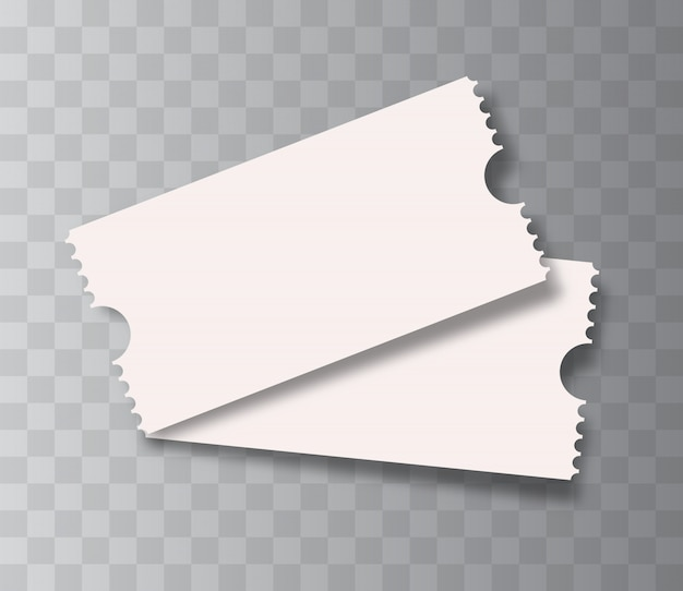 分離された空白の映画のチケット。