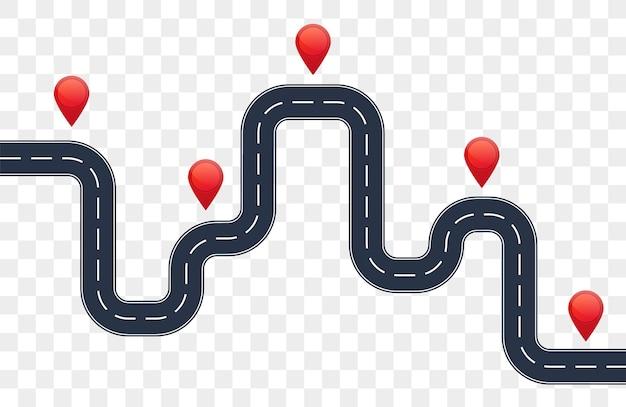 赤いポインターと道路インフォグラフィック