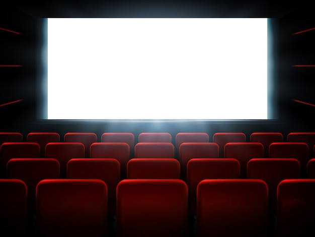 白い画面で映画映画館のプレミアポスターデザイン。