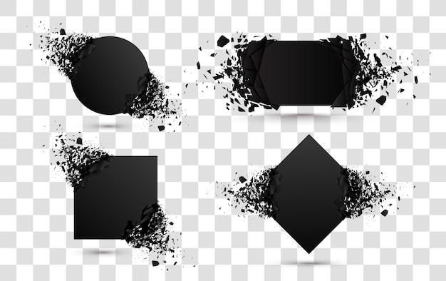 爆発バナー。白で隔離の破片と正方形と円の破壊形状
