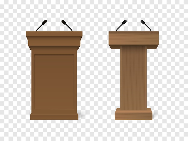 Вектор деревянная трибуна трибуна подиум с микрофонами