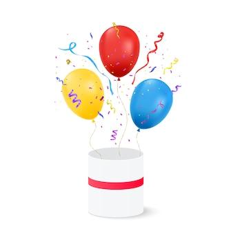 透明な背景に分離された紙吹雪と誕生日用風船。お誕生日おめでとうコンセプト。