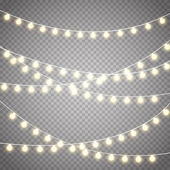 Рождественские огни установлены. вектор новый год украсить гирлянду со светящимися лампочками.